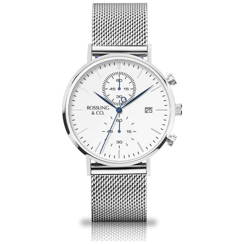 Rossling & Co. Regatta Mesh Stainless Steel Watch | Silver/White