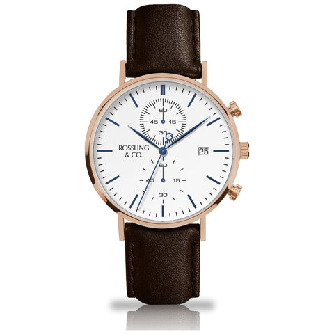 Rossling & Co. Regatta Westhill Leather Chronograph Watch | Rose Gold/White/Brown