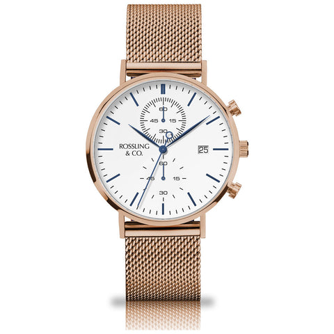 Rossling & Co. Regatta Mesh Stainless Steel Watch | Rose Gold/White
