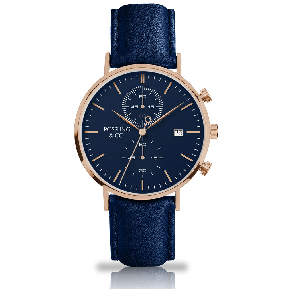 regatta leather watch rose goldbluenavy