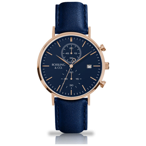Rossling & Co. Regatta Leather Watch | Rose Gold/Blue/Navy