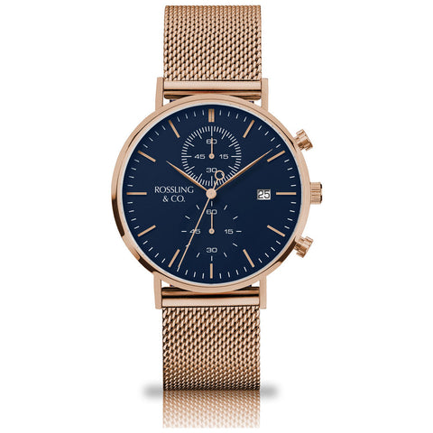 Rossling & Co. Regatta Mesh Stainless Steel Watch | Rose Gold/Blue