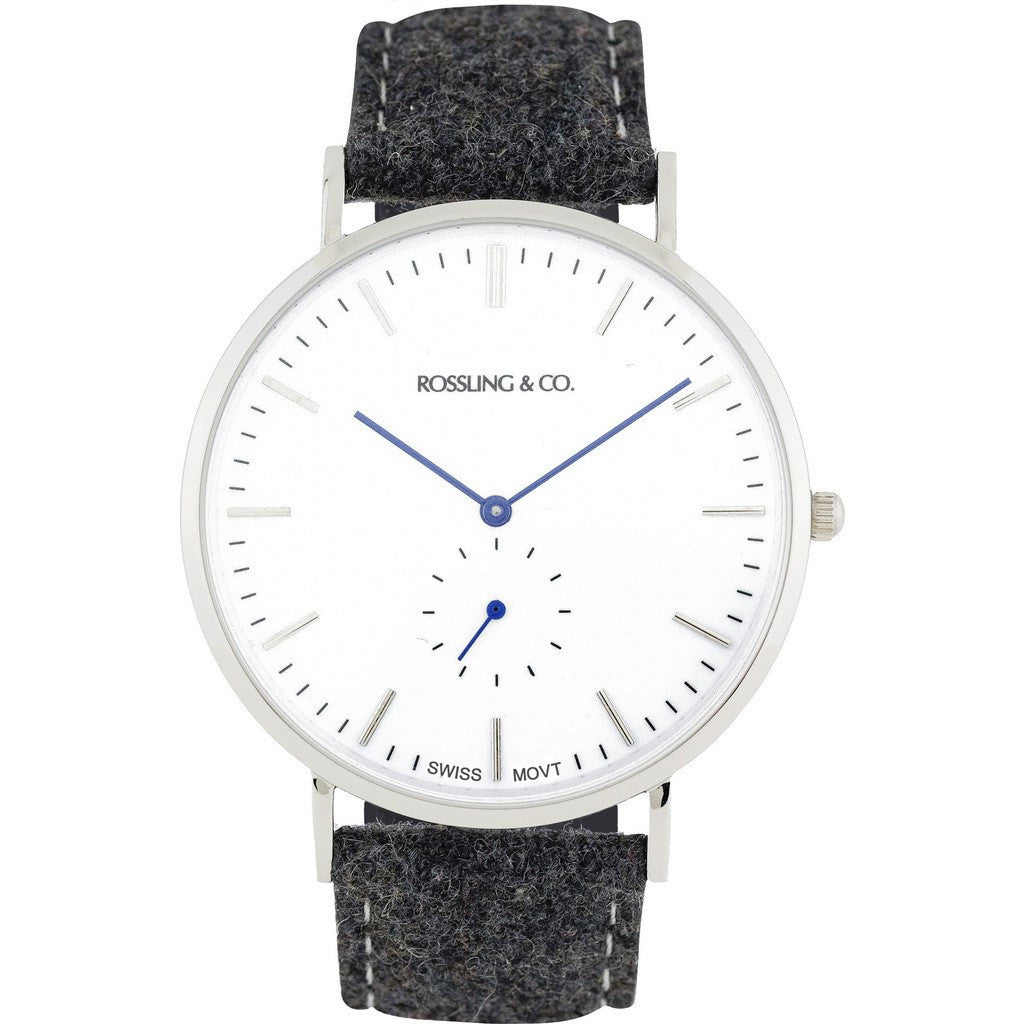 Rossling & Co. Classic 40mm Glencoe Watch | Silver/White/Blue RO-001-001