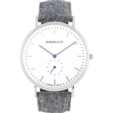 Rossling & Co. Classic 40mm Stirling Watch | Silver/White/Blue RO-001-002