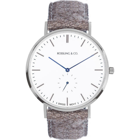 Rossling & Co. Classic 40mm Aberdeen Watch | Silver/White/Blue RO-001-003