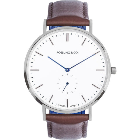 Rossling & Co. Classic 40mm Westhill Watch | Silver/White/Blue RO-001-005