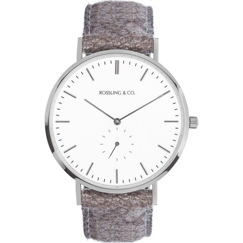 Rossling & Co. Classic 40mm Aberdeen Watch | Silver/White/Silver RO-001-008
