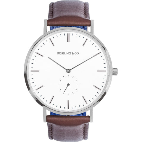 Rossling & Co. Classic 40mm Westhill Watch | Silver/White/Silver RO-001-010