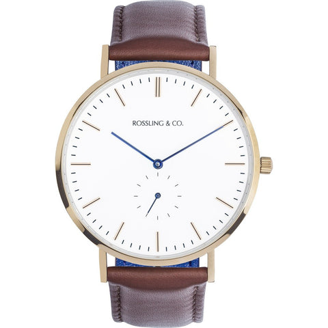 Rossling & Co. Classic 40mm Westhill Watch | Gold/White/Blue RO-001-015