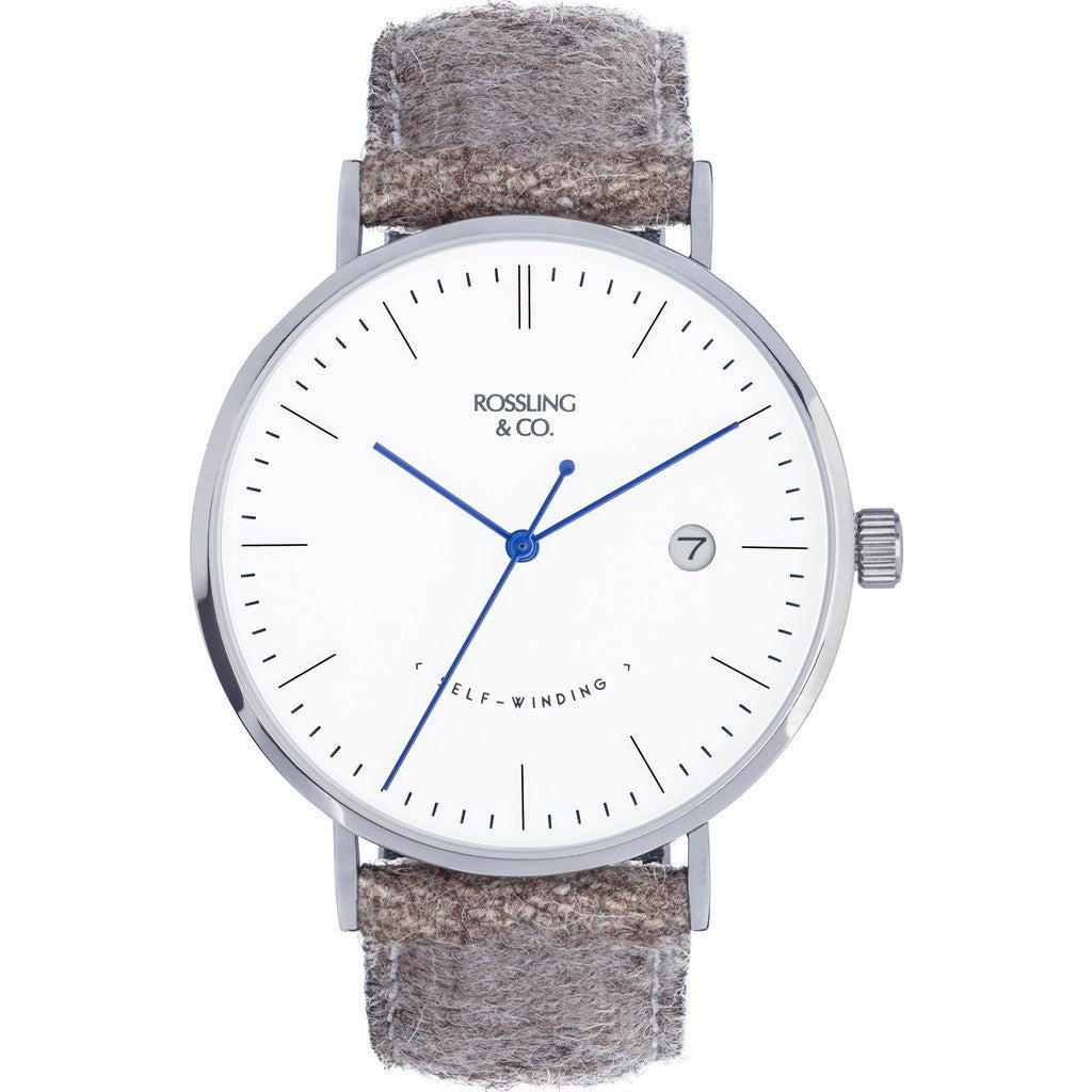 Rossling & Co. Classic Automatic Aberdeen Watch | Silver/White/Blue RO-002-003