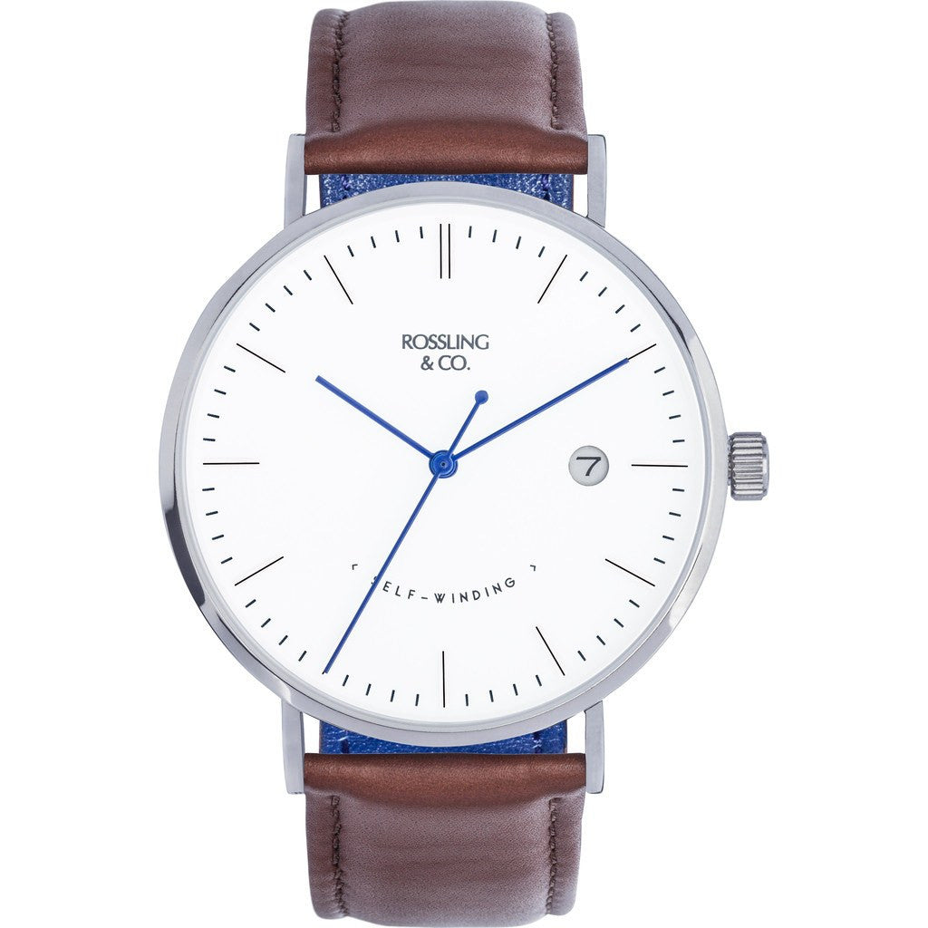 Rossling & Co. Classic Automatic Westhill Watch | Silver/White/Blue RO-002-005