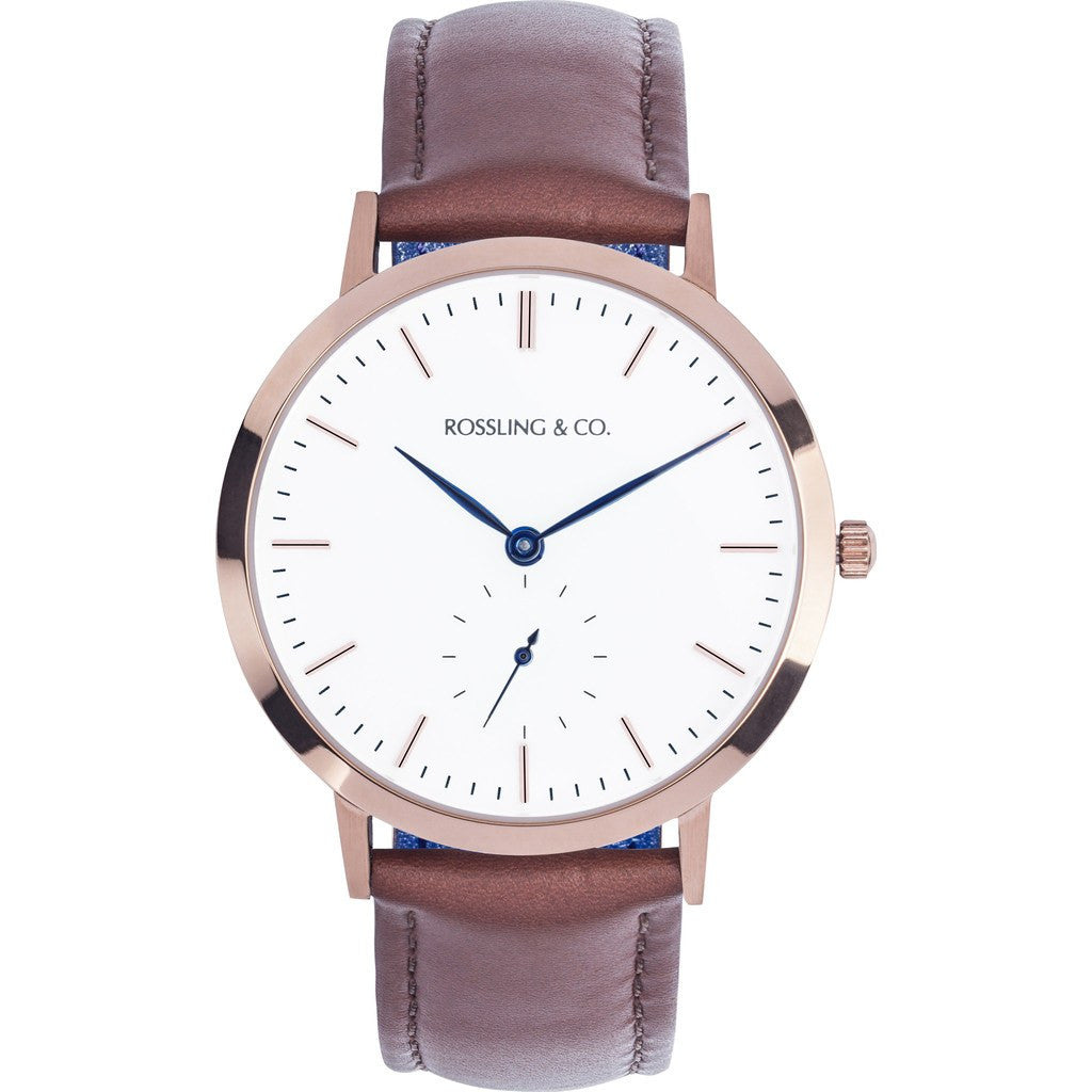 Rossling & Co. Modern 36mm Westhill Watch | Gold/White/Blue RO-003-001