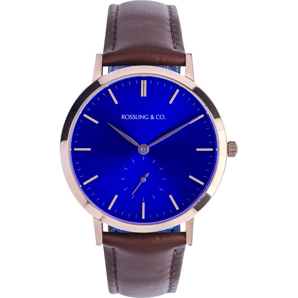 Rossling & Co. Modern 36mm Westhill Watch | Gold/Sunburst Blue/Gold RO-003-002