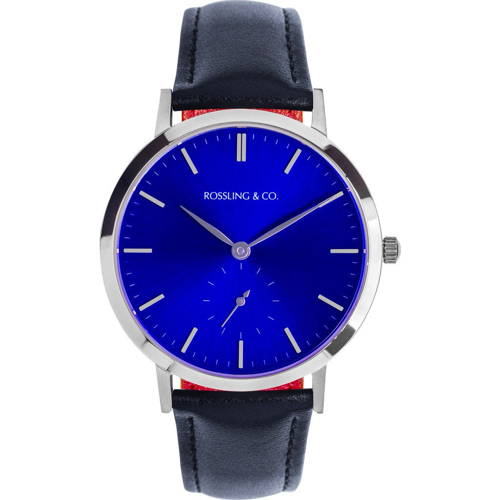 Rossling & Co. Modern 36mm Rogart Watch | Silver/Sunburst Blue/Silver RO-003-004