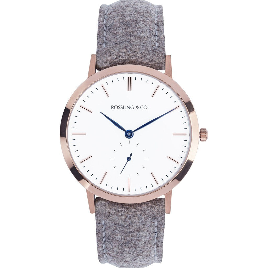 Rossling & Co. Modern 36mm Aberdeen Watch | Gold/White/Blue RO-003-005