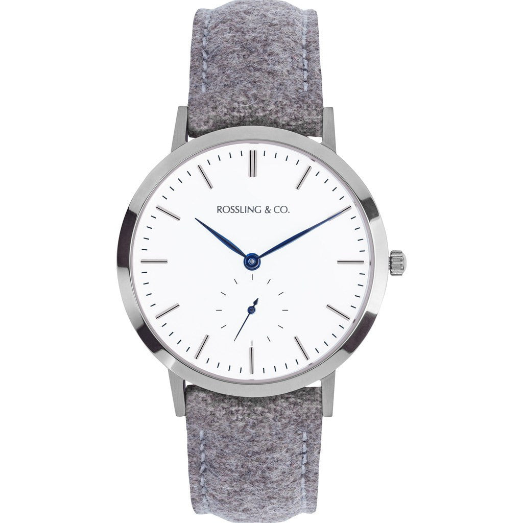 Rossling & Co. Modern 36mm Aberdeen Watch | Silver/White/Blue RO-003-007