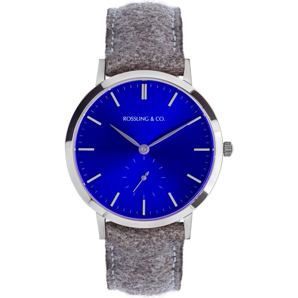 Rossling & Co. Modern 36mm Aberdeen Watch | Silver/Sunburst Blue/Silver RO-003-008