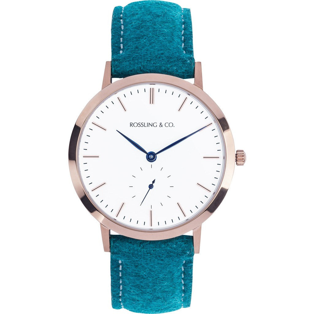 Rossling & Co. Modern 36mm Greenock Watch | Gold/White/Blue RO-003-009