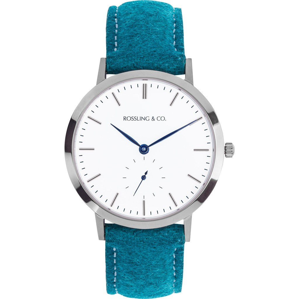 Rossling & Co. Modern 36mm Greenock Watch | Silver/White/Blue RO-003-011