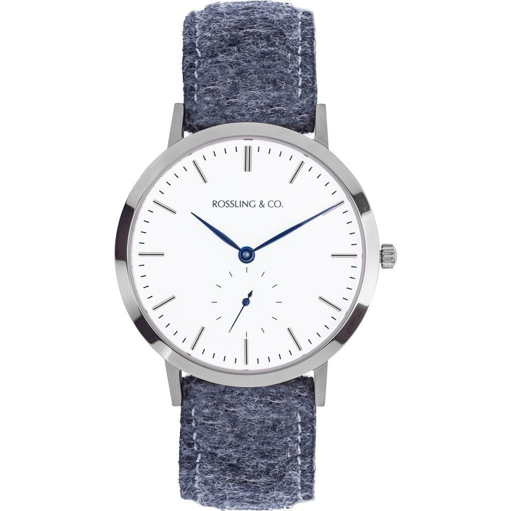 Rossling & Co. Modern 36mm Glencoe Watch | Silver/White/Blue RO-003-017