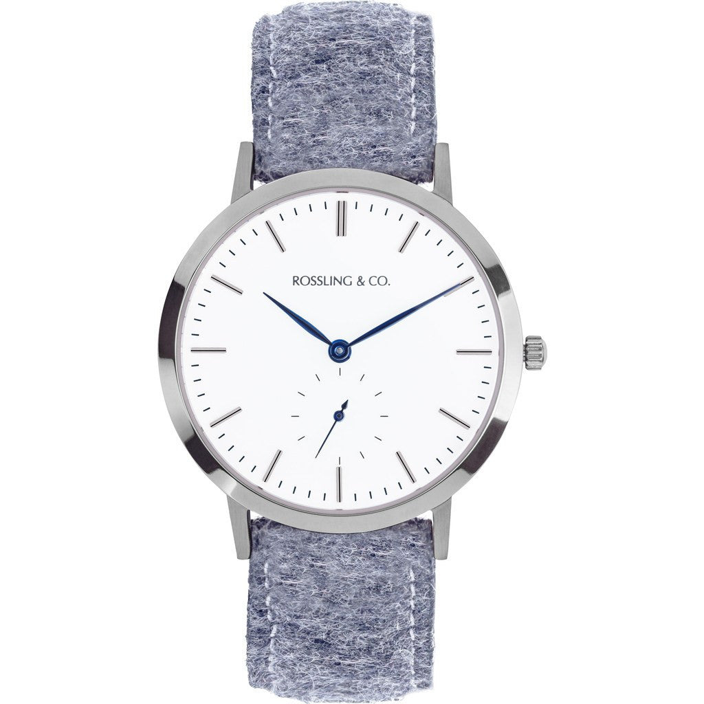 Rossling & Co. Modern 36mm Stirling Watch | Silver/White/Blue RO-003-018