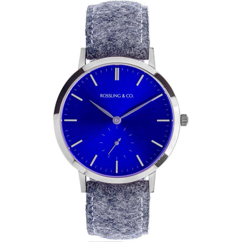 Rossling & Co. Modern 36mm Stirling Watch | Silver/Sunburst Blue/Silver RO-003-020