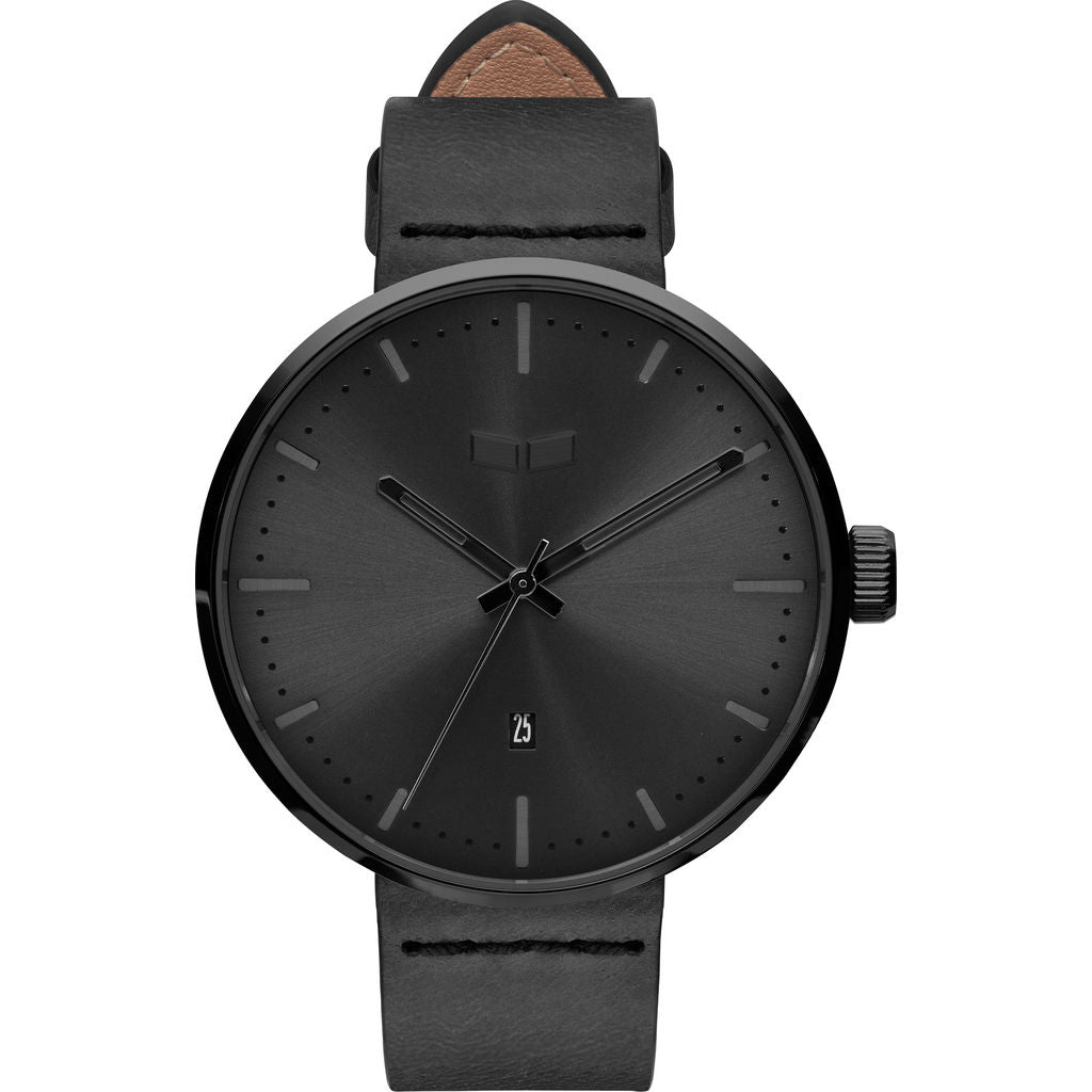 Vestal Roosevelt Italian Leather Watch | Black/Black