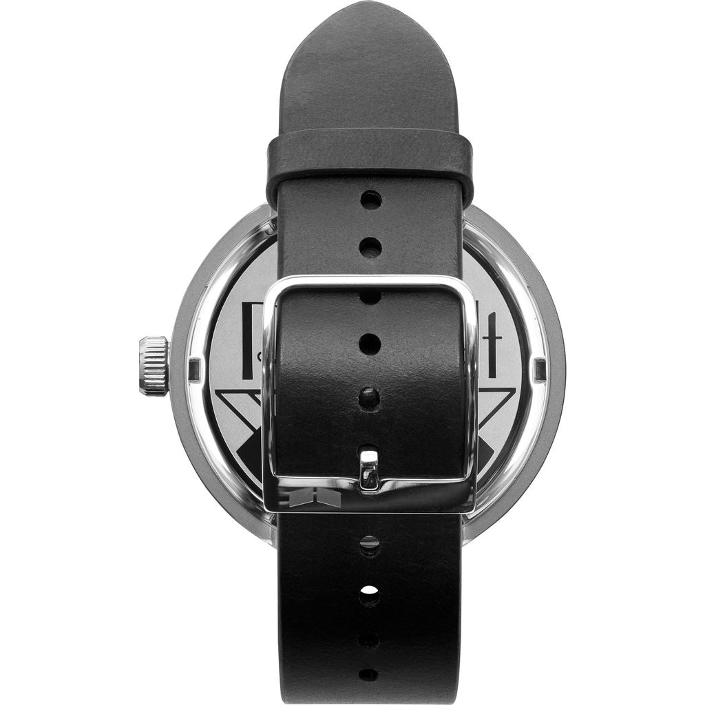 Vestal Roosevelt Italian Leather Watch | Black/Silver/White