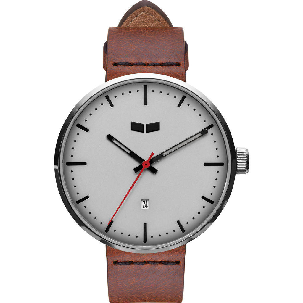 Vestal Roosevelt Italian Leather Watch | Cordovan/Silver/White