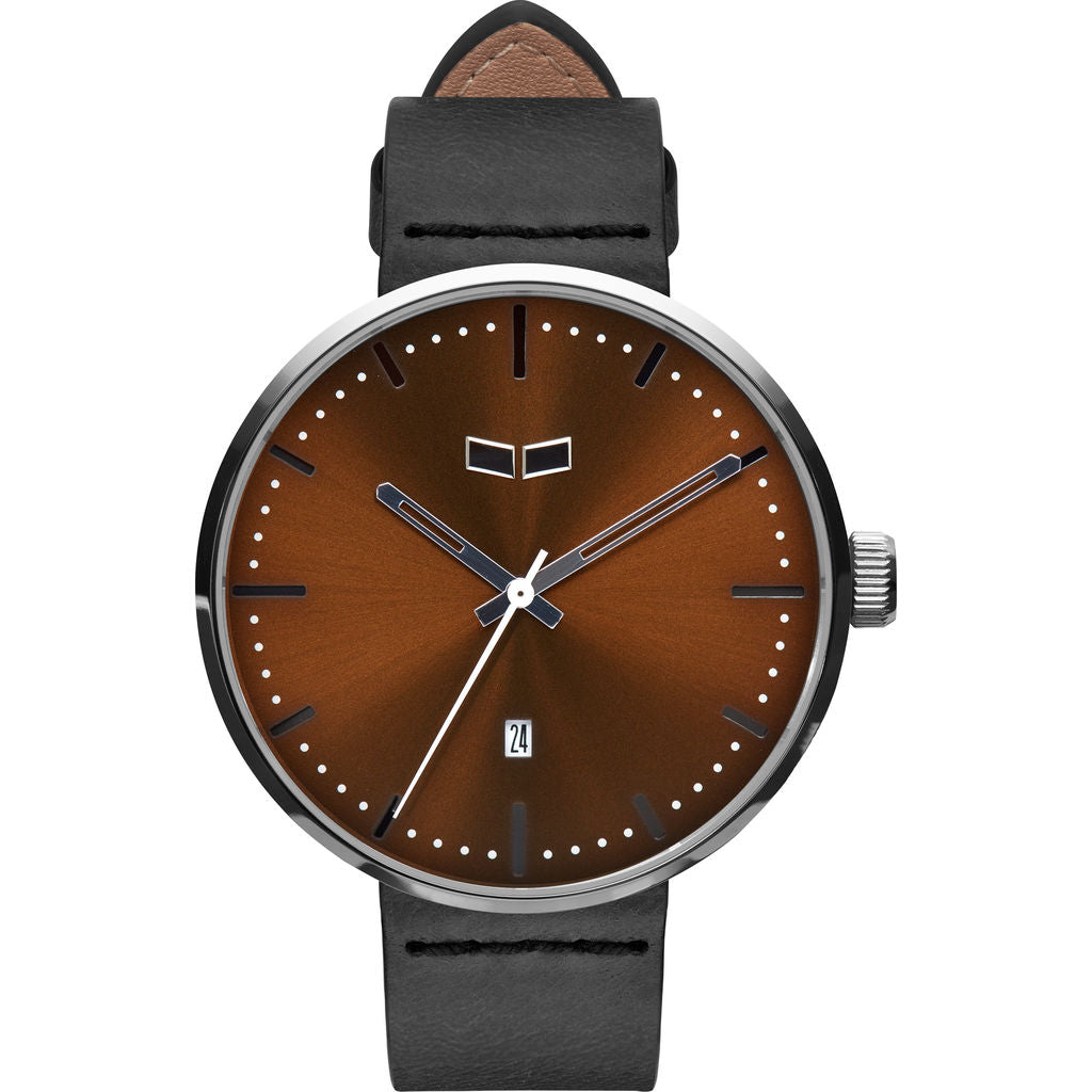 Vestal Roosevelt Italian Leather Watch | Black/Silver/Brown