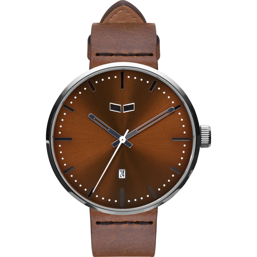 Vestal Roosevelt Italian Leather Watch | Brown/Silver/Brown