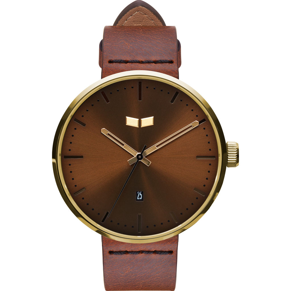 Vestal Roosevelt Italian Leather Watch | Cordovan/Gold/Brown