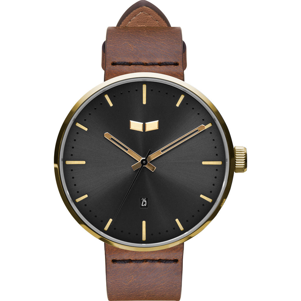 Vestal Roosevelt Italian Leather Watch | Brown/Gold/Black