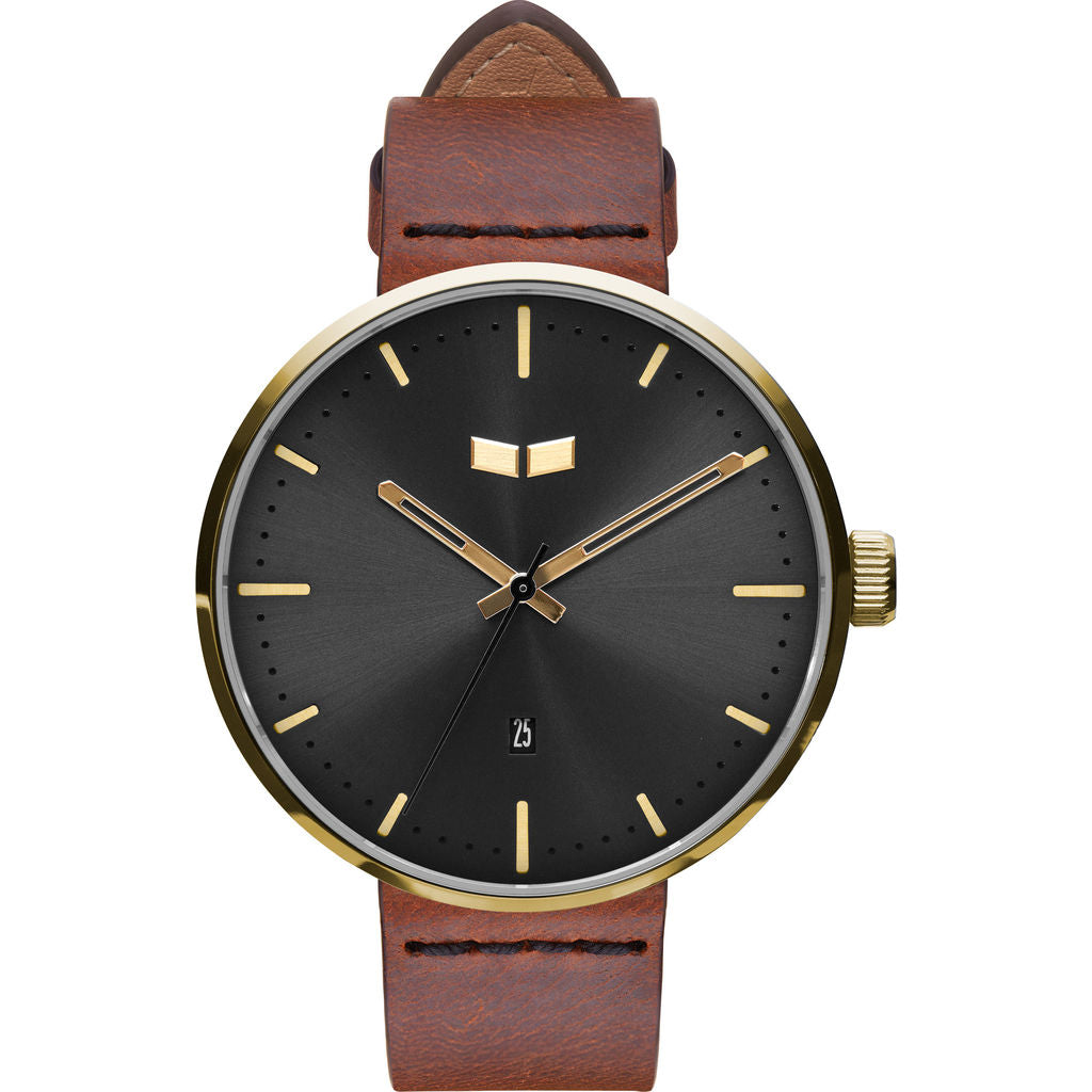 Vestal Roosevelt Italian Leather Watch | Cordovan/Gold/Black