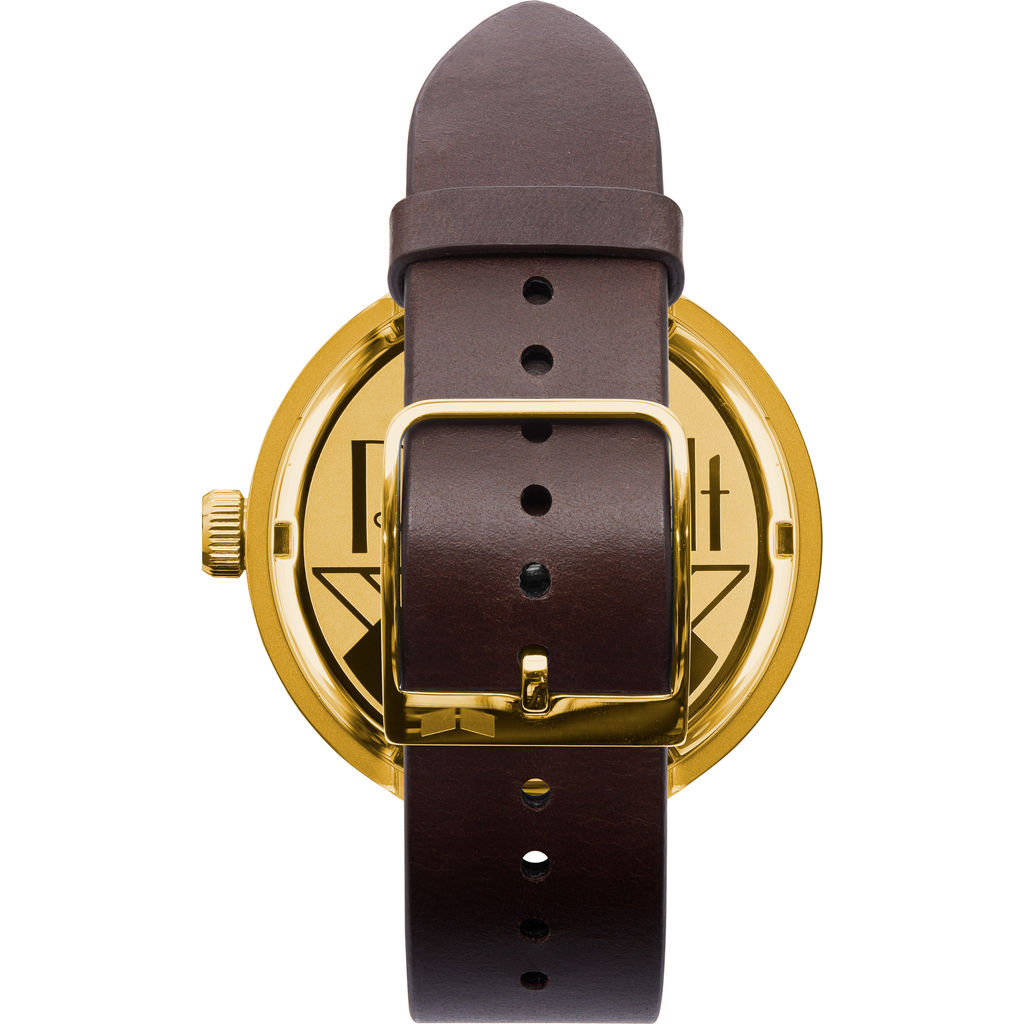 Vestal Roosevelt Italian Leather Watch | Dark Brown/Gold/Black