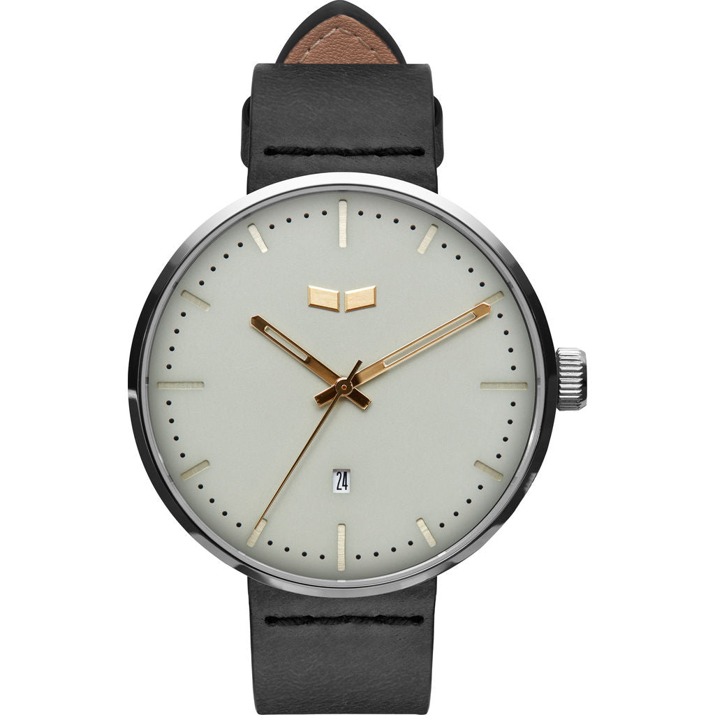 Vestal Roosevelt Italian Leather Watch | Black/Silver/Marine-Gold