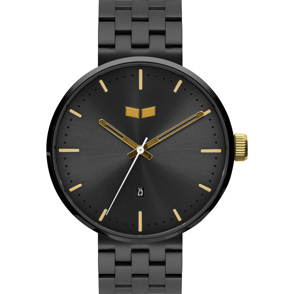 Vestal Roosevelt 5-Link Metal Watch | Gun/Gold