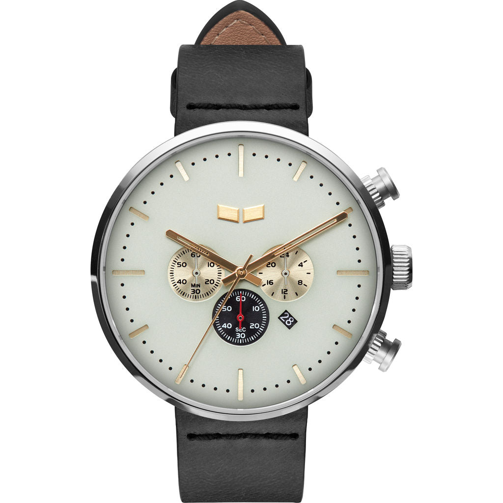 Vestal Roosevelt Chrono Italian Leather Watch | Black/Silver/Marine-Gold