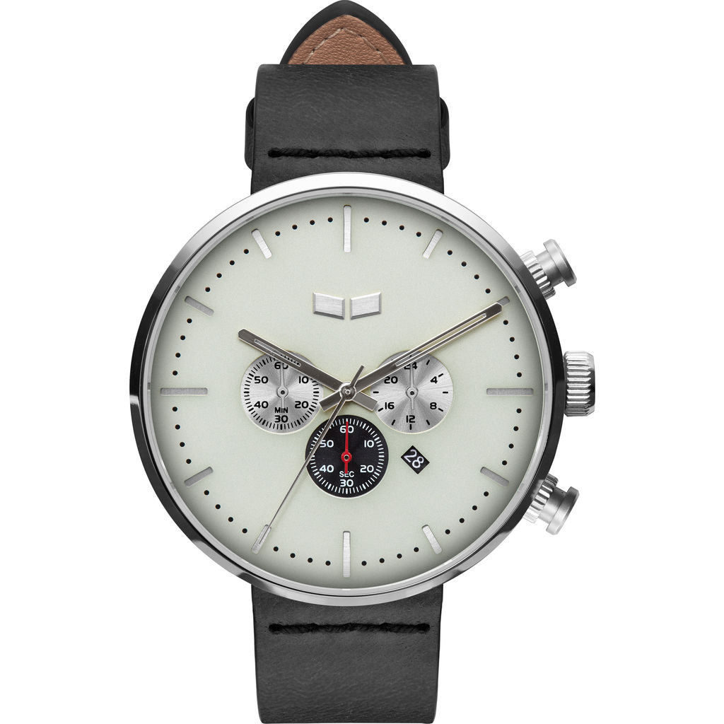 Vestal Roosevelt Chrono Italian Leather Watch | Black/Silver/Marine
