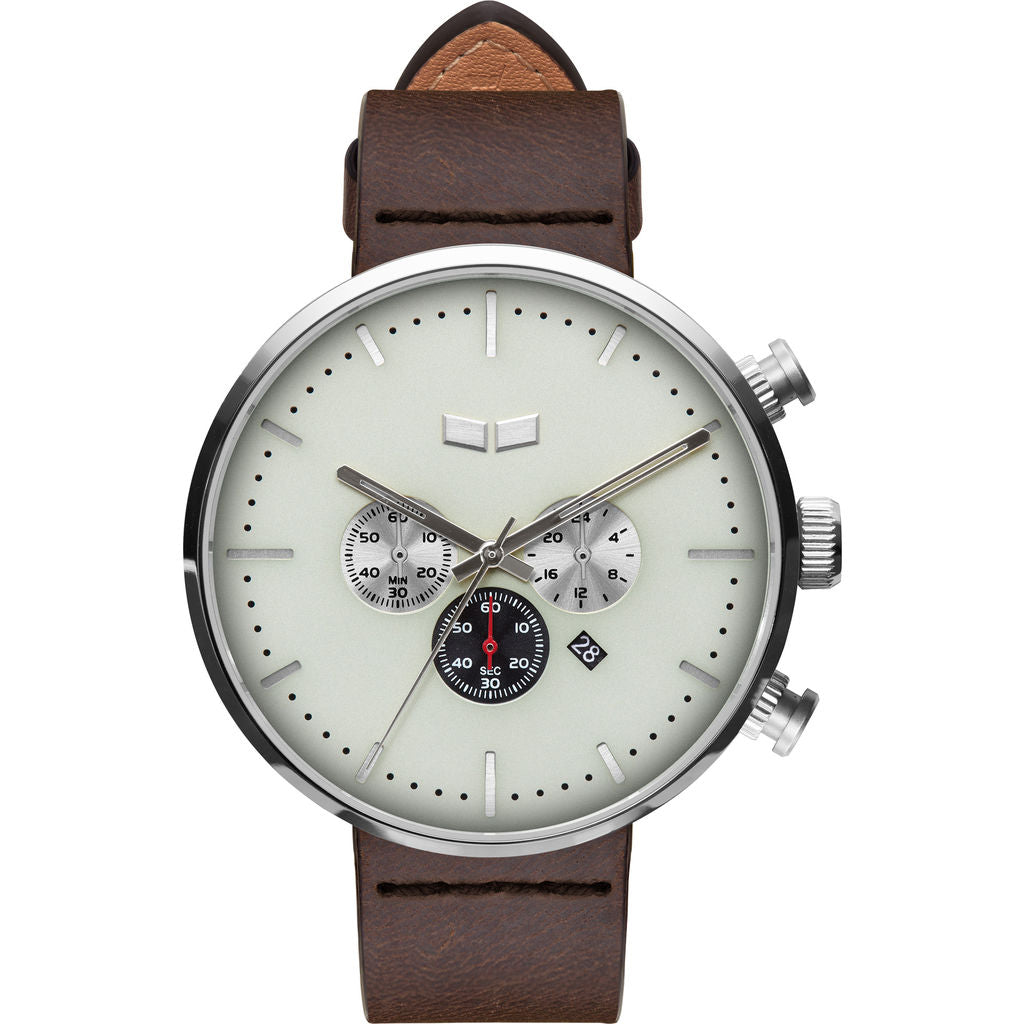 Vestal Roosevelt Chrono Italian Leather Watch | Dark Brown/Silver/Marine