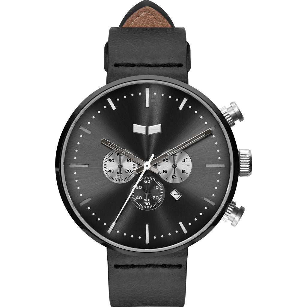 Vestal Roosevelt Chrono Italian Leather Watch | Black/Gun-Silver