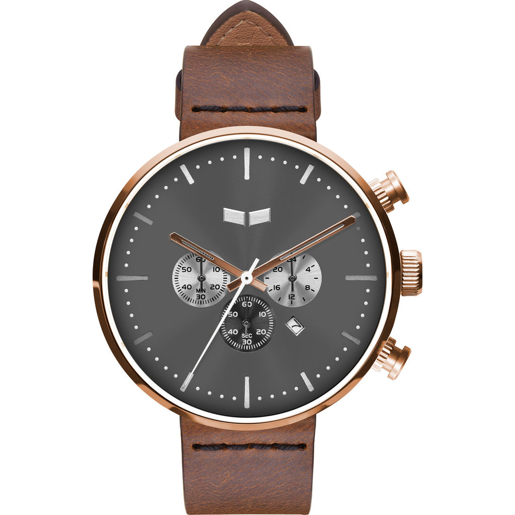 Vestal Roosevelt Chrono Italian Leather Watch | Brown/Rosegold/Grey