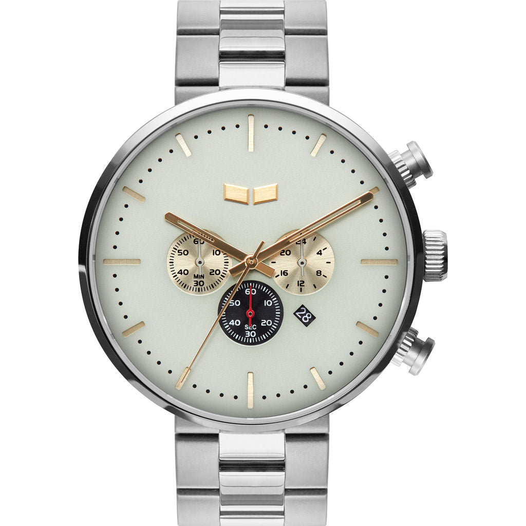 Vestal Roosevelt Chrono 3-Link Metal Watch | Silver/Marine/Gold