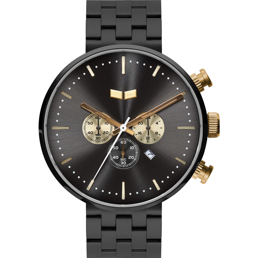 Vestal Roosevelt Chrono 5-Link Metal Watch | Gun/Gold