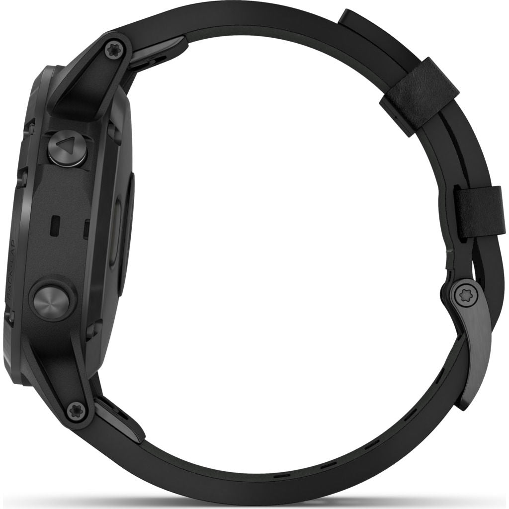 Garmin Fenix 5 Plus Sapphire Multisport GPS Watch | Black Leather 010-01988-06