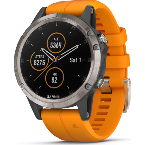 Garmin Fenix 5 Plus Sapphire Multisport GPS Watch | Solar Flare Orange 010-01988-04