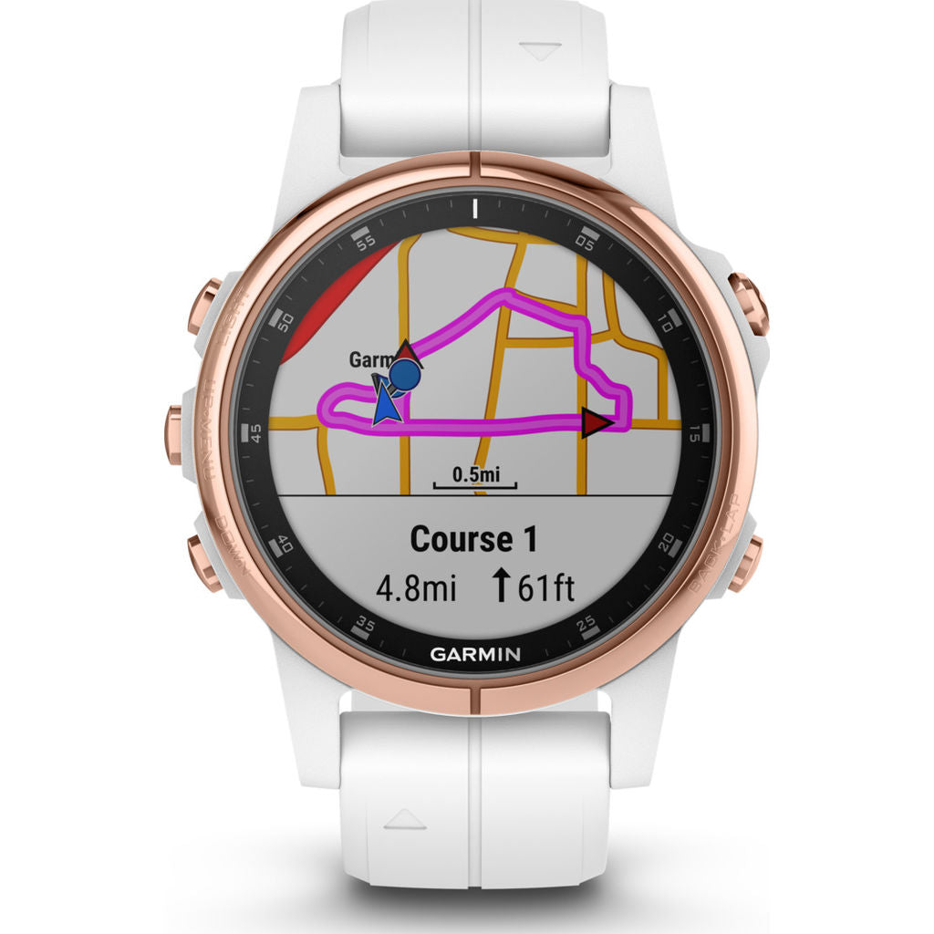 Garmin Fenix 5S Plus Sapphire Multisport GPS Watch | Rose Gold/White 010-01987-06