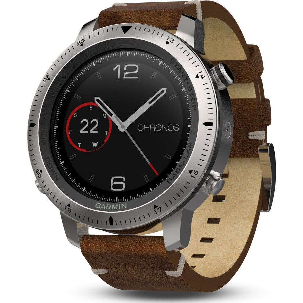 Garmin Fenix Chronos Multi-Sport GPS Watch | Silver/Leather 010-01957-00