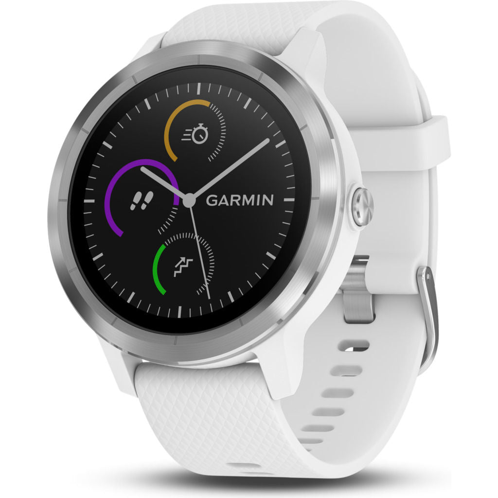 Garmin Vivoactive 3 Activity Tracking GPS Smartwatch | White & Stainless Steel 010-01769-21