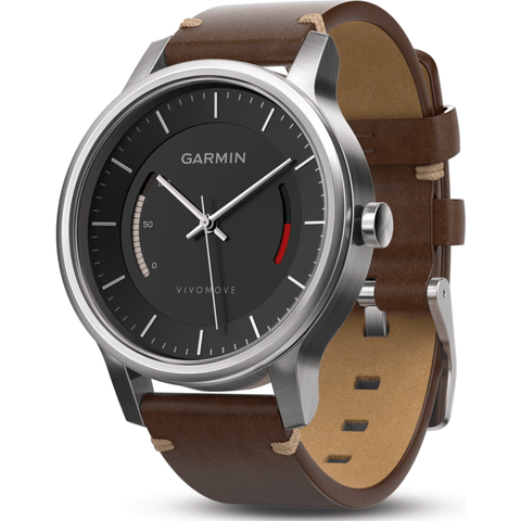Garmin Vivomove Premium Activity Tracking Watch | Stainless Steel/Leather 010-01597-22
